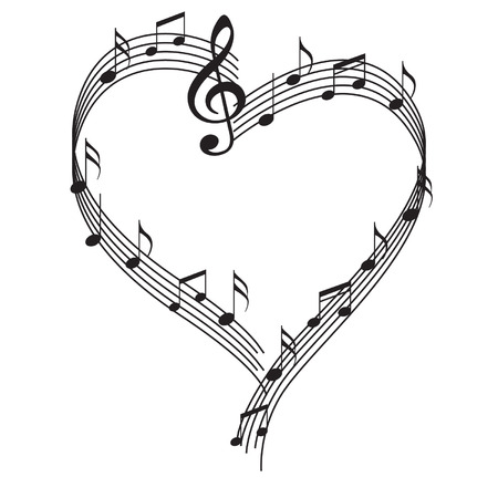 music sheet: Notes_in_heart Illustration