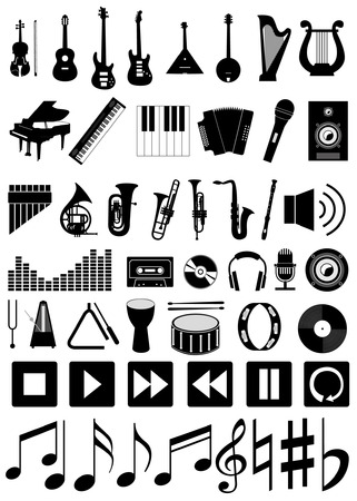 Musical instruments and accessories  Set of music icons Vector