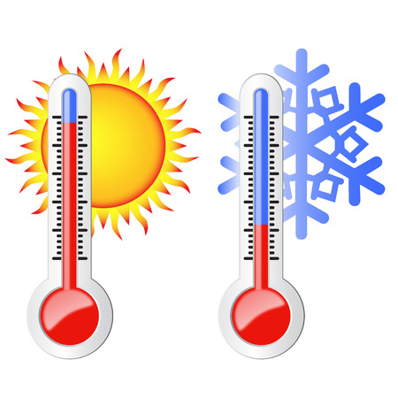 Two thermometers, high and low temperature  Symbolize the heat and cold  Sun and snowflake  Vector