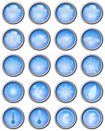 blue buttons: Set of weather icons on blue buttons with metal edging