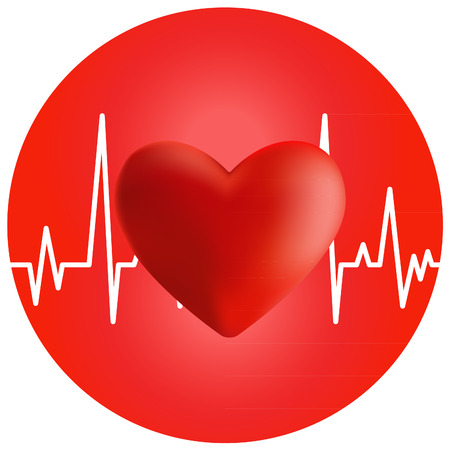taking pulse: Volume of the heart and cardiogram on red circle background