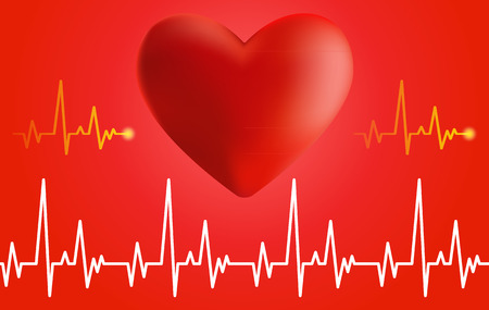 palpitation: Volume of the heart and cardiogram on red background