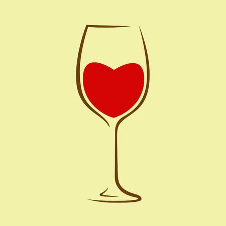 Cuore rosso in bicchiere di vino.