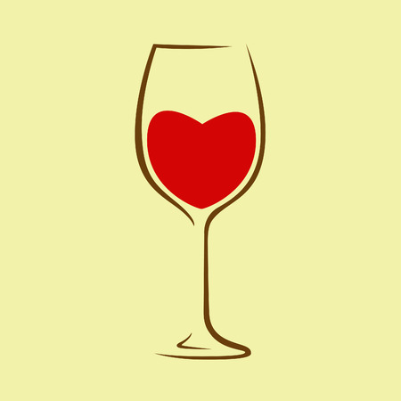 Red heart in wine glass. Illustration