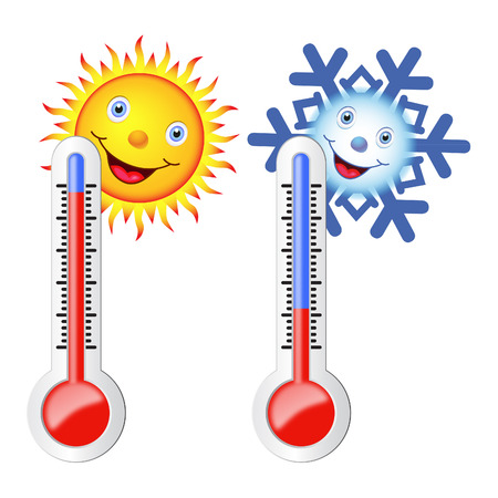 Two thermometers, sun, snowflake. Symbols of hot and cold weather.