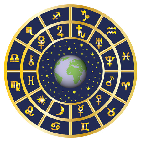 Signs of the zodiac and the planets around the Earth and the sky. Stock Illustratie