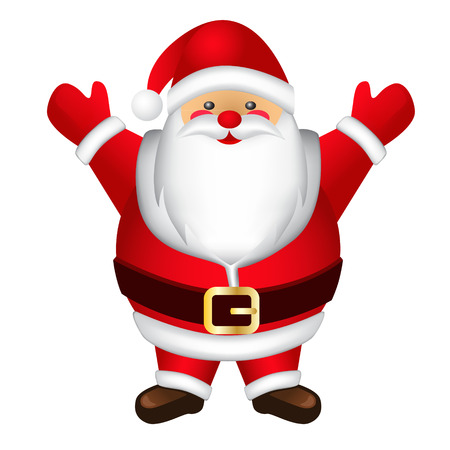 Happy and fat Santa Claus.  Isolated stylized image of Santa Claus in a red suit. 矢量图像