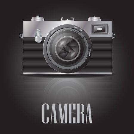 retro styled imagery: Retro film photocamera. Illustration