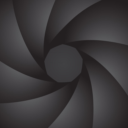 midsection: Aperture camera. Petals of the diaphragm. Vector Image.