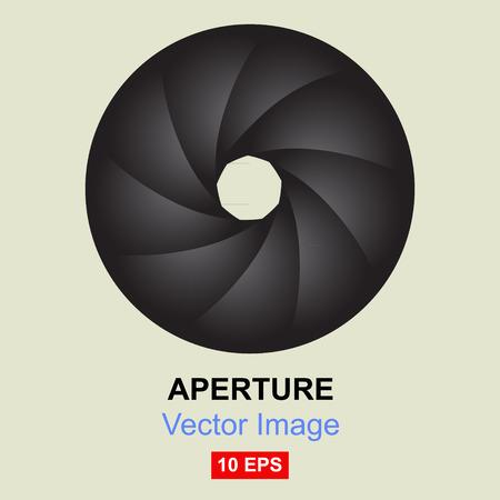 Aperture. Nine aperture blades. Vector.