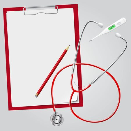 pencil and paper: Medical set. Stethoscope, thermometer, holders for paper, pencil. Realistic style.