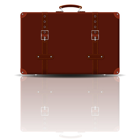 brown leather: Old suitcase made of light brown leather, with straps and metal buckles. Vector illusration. Illustration