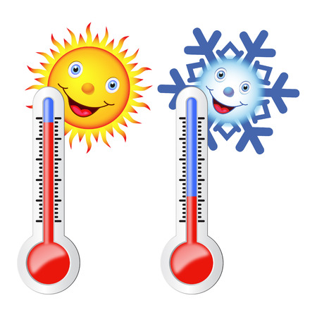 weather: Two thermometers, high and low temperature. Sun and snowflake with a smile. Vector image.