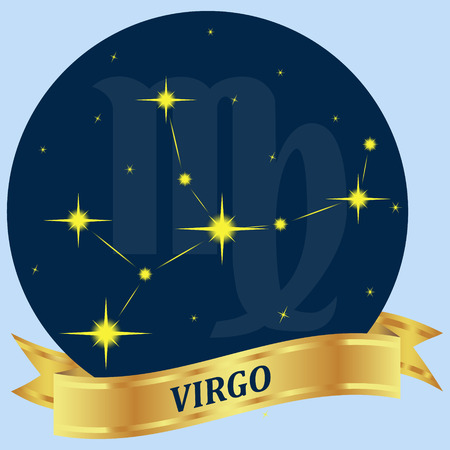 virgo zodiac sign: Virgo. Constellation and zodiac sign in the blue circle. Gold ribbon. Vector Image. Illustration
