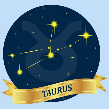 portent: Taurus. Constellation and zodiac sign in the blue circle. Gold ribbon. Vector Image.