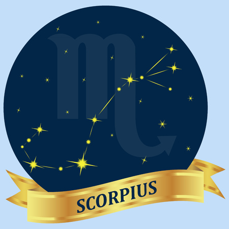 portent: Scorpius. Constellation and zodiac sign in the blue circle. Gold ribbon. Vector Image.