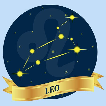 zodiacal symbol: LEO. Constellation and zodiac sign in the blue circle. Gold ribbon. Vector Image.