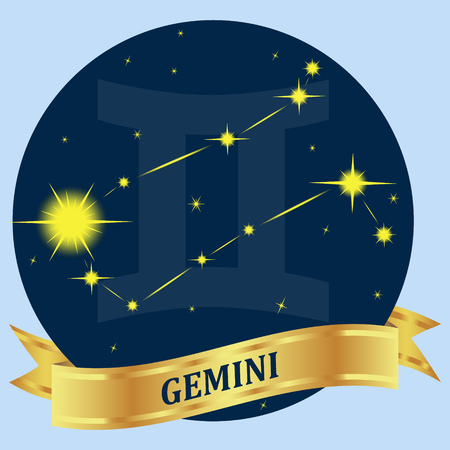portent: GEMINI. Constellation and zodiac sign in the blue circle. Gold ribbon. Vector Image.