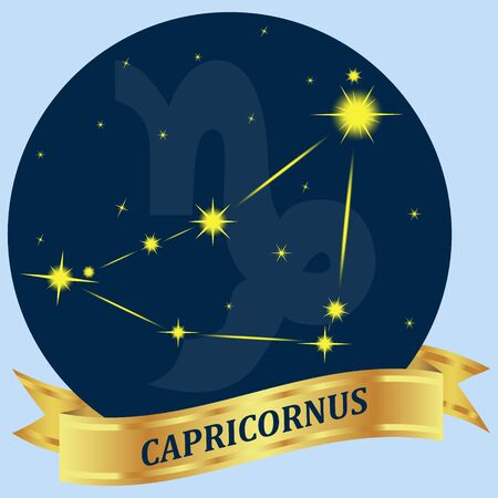 portent: Capricornus. Constellation and zodiac sign in the blue circle. Gold ribbon. Vector Image.