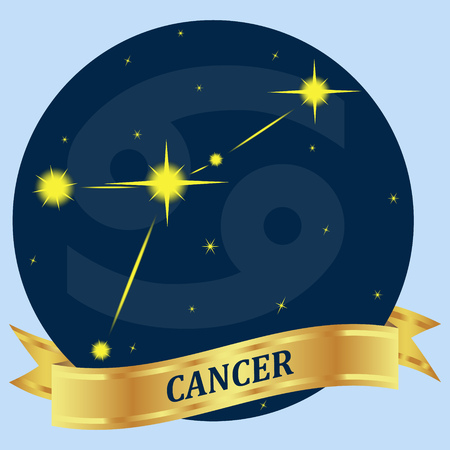 portent: CANCER. Constellation and zodiac sign in the blue circle. Gold ribbon. Vector Image. Illustration