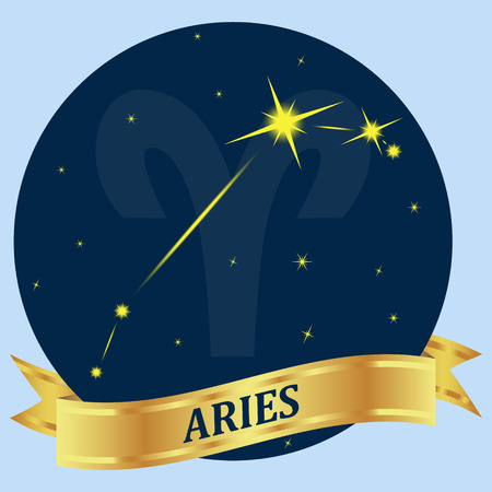 portent: Aries. Constellation and zodiac sign in the blue circle. Gold ribbon. Vector Image. Illustration