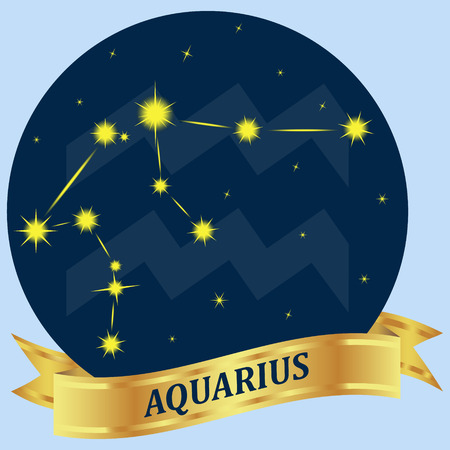 portent: Aquarius. Constellation and zodiac sign in the blue circle. Gold ribbon. Vector Image. Illustration