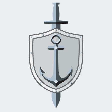 sleek: Anchor, shield, sword.  symbol, tattoo. Sleek style. Illustration