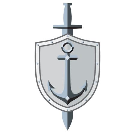 sleek: Anchor, shield, sword. symbol, tattoo. Sleek style. Image. White background.