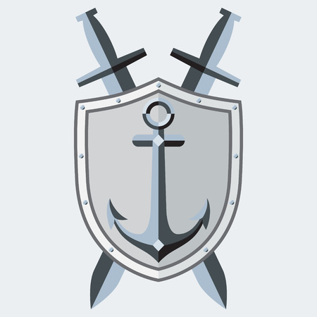 crossed swords: Anchor, shield, crossed swords.  symbol, tattoo. Sleek style. Image. Illustration
