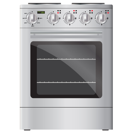 stainless steel range: Appliances. Modern electric stove and oven, silver.