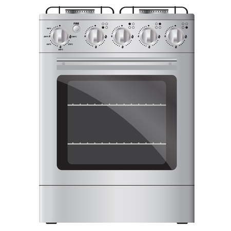 ignition: Modern gas stove with electric ignition, silver color. Isolated on white background. Illustration