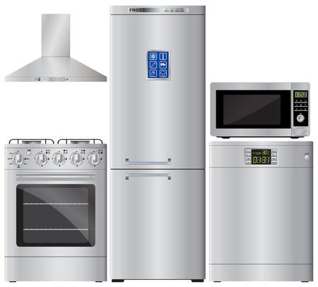 家電製品。家電のセットです。冷蔵庫、コンロ、食器洗い機、電子レンジ、レンジフード。キッチン フード。Gaz の調理器具です。ベクター画像。