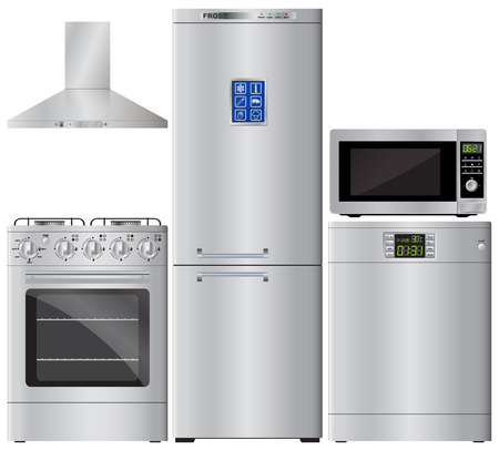 Huishoudelijke apparaten. Set van huishoudelijke apparaten. Koelkast, gasfornuis, vaatwasser, magnetron, afzuigkap. Afzuigkap. Gasfornuis. Vector afbeelding. Stock Illustratie