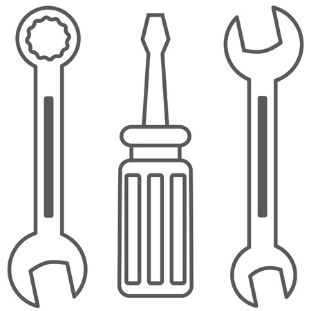 Set of tools. Two wrenches and a screwdriver.