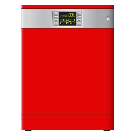Modern dishwasher red color with a digital display. Vector Image. Realistically style.
