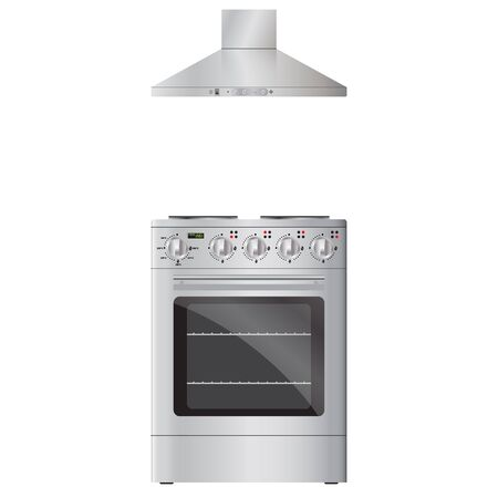 extractor: Modern  electric oven silver color and  extractor hood silver color. Isolated on white background. Illustration