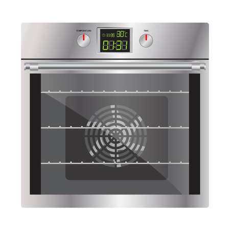 Modern oven silver. Realistic image. Isolated on white background. Ilustrace