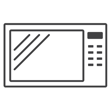 microwave: Home appliances. Microwave. Simple linear microwave icon. Illustration