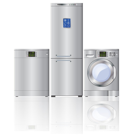 Set of modern household appliances. Refrigerator, dishwasher, washing machine.