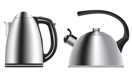 Teapot and kettle. Set in a realistic style. Ilustrace