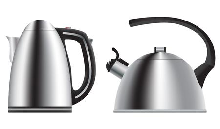 Teekanne und Wasserkocher. In einem realistischen Stil. Standard-Bild - 61286386