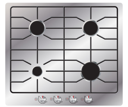 gas burners: Gas stove with four burners. View from above. Isolated on white background. Realistic style.