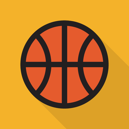 Basketball. Simple icon with shadow. Flat style. Ilustrace