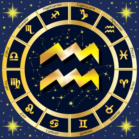 costellazioni: Segni Zodiacali, costellazioni zodiacali. Al centro del segno dell'Acquario. illustrazione.