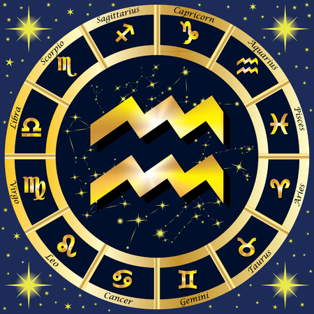 Zodiac Signs, Zodiac constellations. In the center of the sign of Aquarius. illustration.