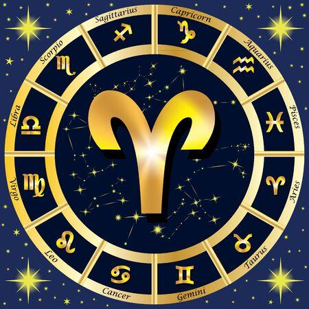 Sternzeichen, Sternkonstellationen. In der Mitte des Zeichen des Widders. Illustration. Standard-Bild - 62265247