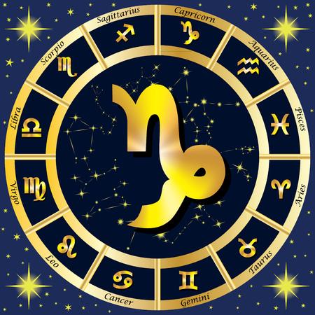 Sternzeichen, Sternkonstellationen. In der Mitte des Zeichen des Steinbocks. Illustration. Standard-Bild - 62265245
