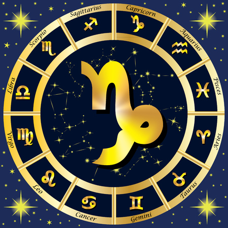 Zodiac Signs, Zodiac constellations. In the center of the sign of Capricorn. illustration.
