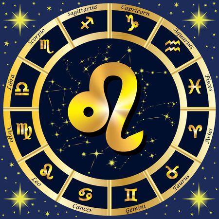 Sternzeichen, Sternkonstellationen. In der Mitte des Zeichen des Löwen. Illustration. Standard-Bild - 62265269