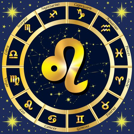 zodiac constellations: Zodiac Signs, Zodiac constellations. In the center of the sign of Leo.  illustration.